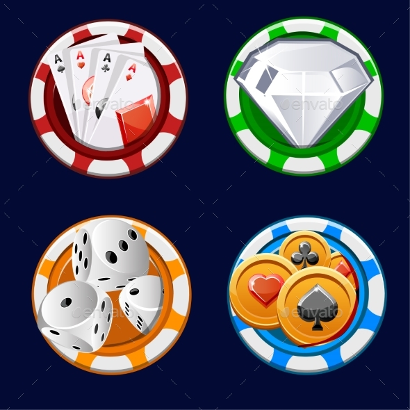 Poker Icon Color Chips - Sports/Activity Conceptual