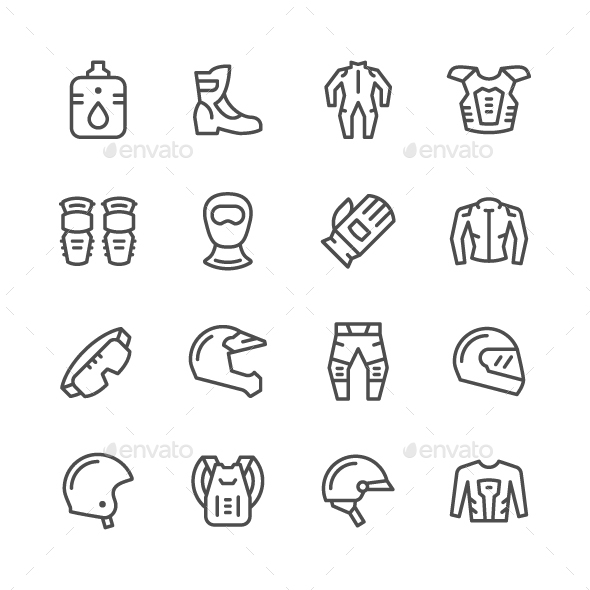 Set Line Icons of Motorcycle Equipment - Man-made objects Objects