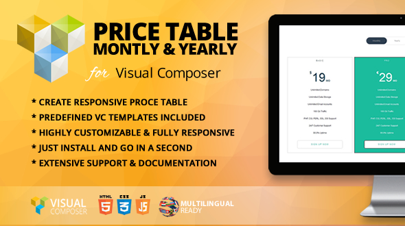 Price Table Monthly & Yearly Addon for Visual Composer - CodeCanyon Item for Sale