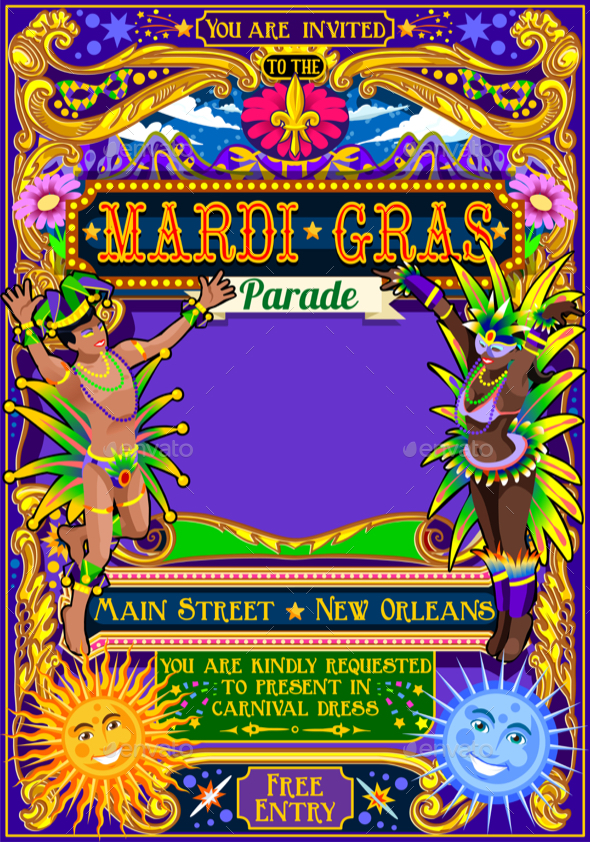 mardi gras carnival poster theme carnival mask show parade, Powerpoint templates