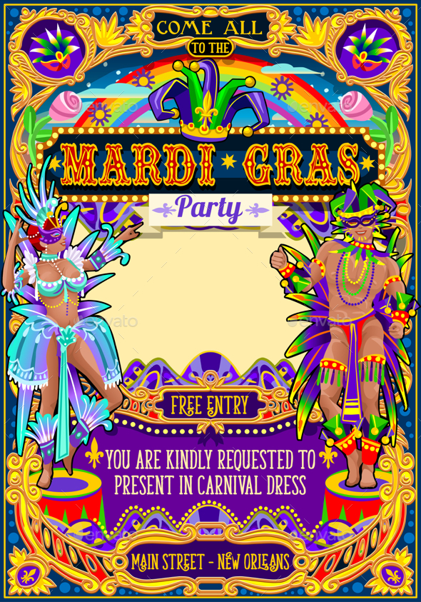 Mardi Gras Carnival Poster Theme Carnival Mask Show Parade - Miscellaneous Seasons/Holidays