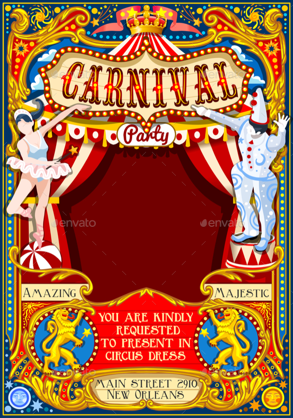 Circus Carnival Dancer and Clown Theme Vintage Vector - Miscellaneous Seasons/Holidays