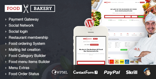 Food Bakery | Hotel | Restaurant Responsive WordPress Theme