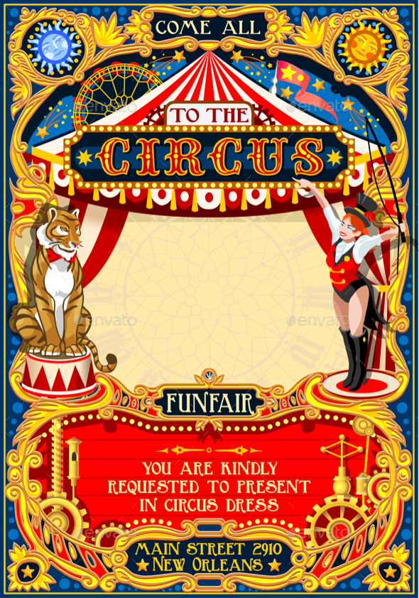 Circus Carnival Animal Trainer Invite Vintage Vector - Miscellaneous Seasons/Holidays