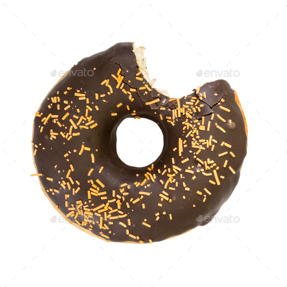 Bitten chocolate donut. Top view. - Stock Photo - Images