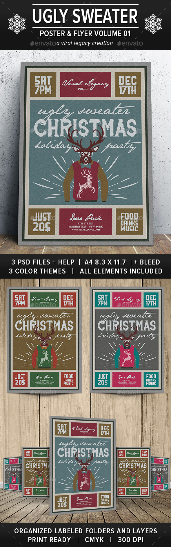 Ugly Sweater Poster / Flyer V01 - Flyers Print Templates