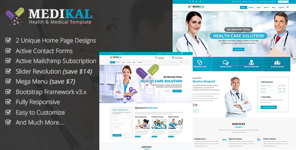 Medikal - Health & Medical Responsive HTML5 Template