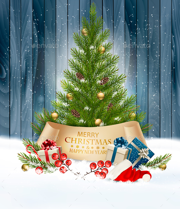 Holiday Christmas Background with Gift Boxes and Tree - Christmas Seasons/Holidays