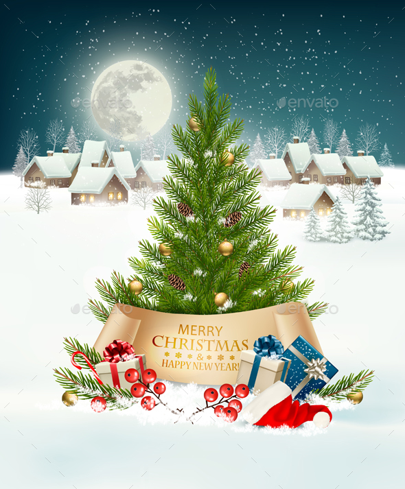 Holiday Background with a Village and Christmas Tree - Christmas Seasons/Holidays