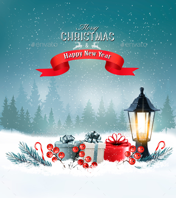 Christmas Background with a Lantern and Colorful Gift Boxes - Christmas Seasons/Holidays