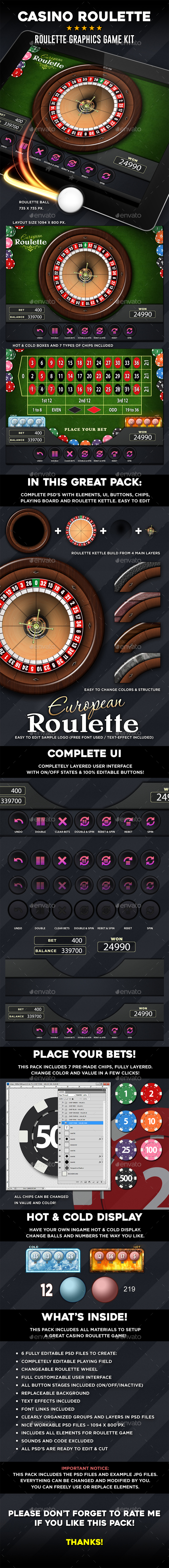 Casino Roulette Graphics Game Kit - Game Kits Game Assets