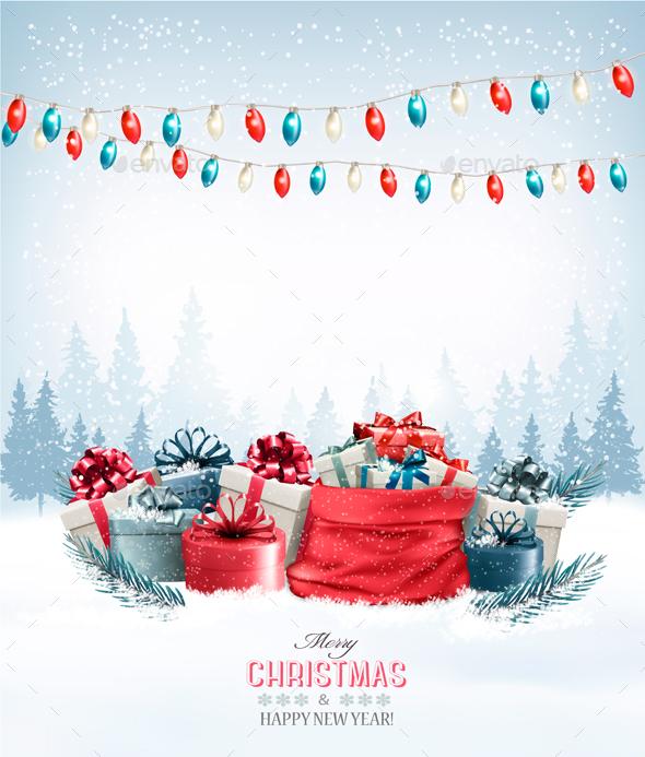Christmas Holiday Background with Presents and Garland - Christmas Seasons/Holidays