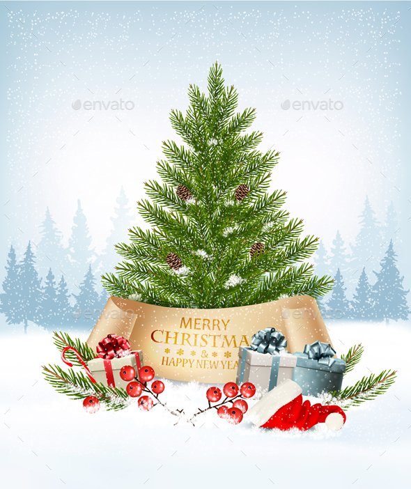 Holiday Background with a Christmas Tree and Presents. Vector. - Christmas Seasons/Holidays