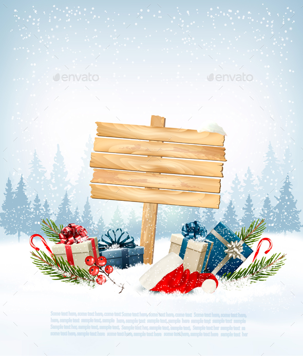Winter Background with Gift Boxes and a Wooden Board - Christmas Seasons/Holidays