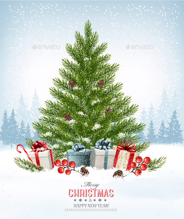 Holiday Background with a Christmas Tree and Presents - Christmas Seasons/Holidays