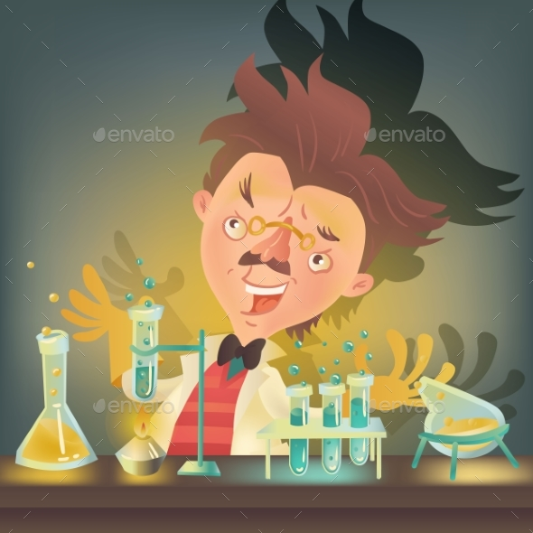 Bushy Haired Mad Professor in Lab Coat - People Characters