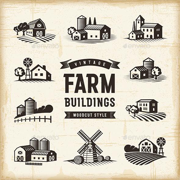Vintage Farm Buildings Set - Buildings Objects