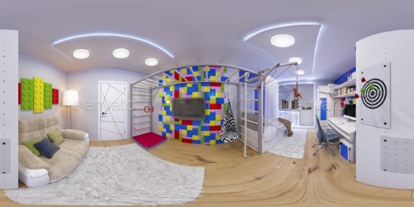 Spherical 360 Seamless Panorama of Children's Room - 3D Backgrounds