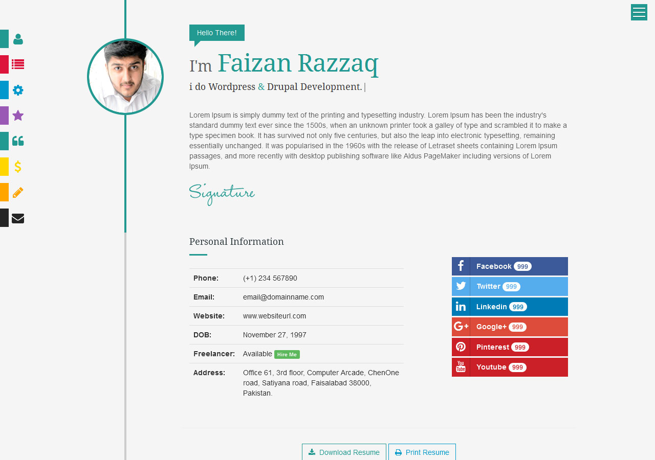 Prismcv  Stylish  Interactive Resume  Cv Template By Umairrazzaq