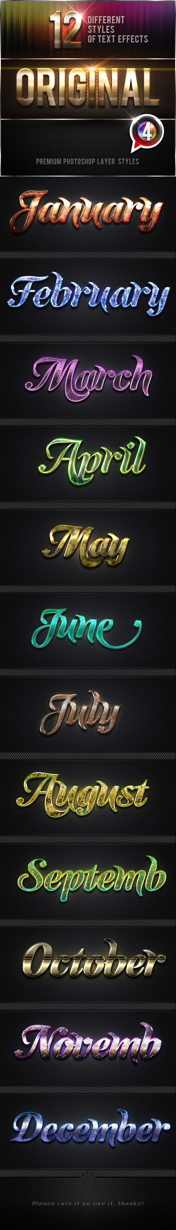 12 Original Photoshop Text Effects Vol.4 - Text Effects Styles