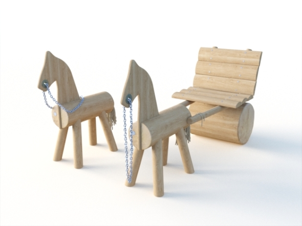 Wooden play equipment for playground - horses Set - 3DOcean Item for Sale