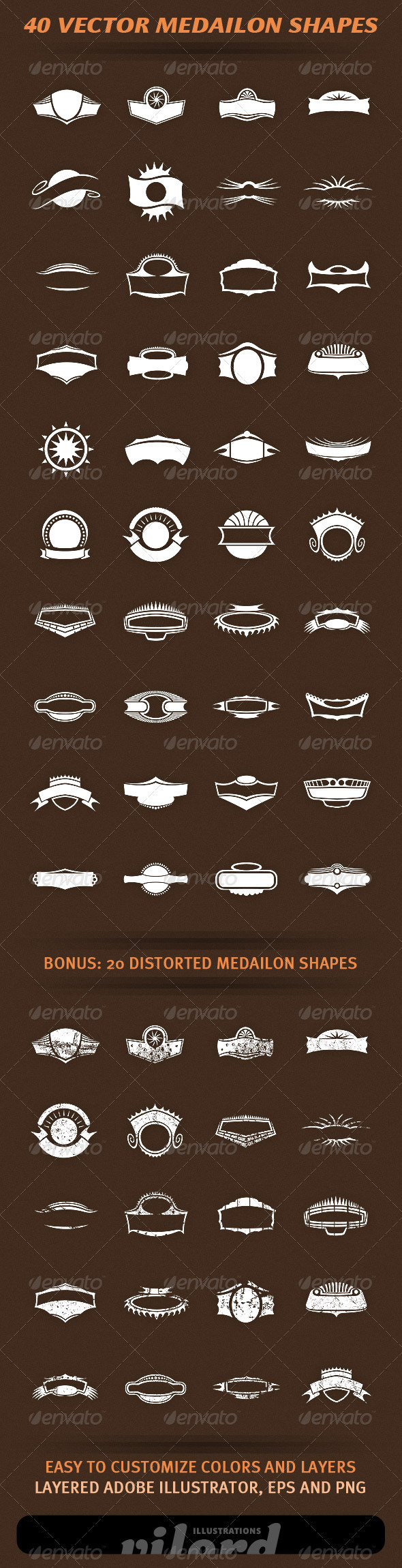 40 Vector Medailon Shapes - Decorative Vectors