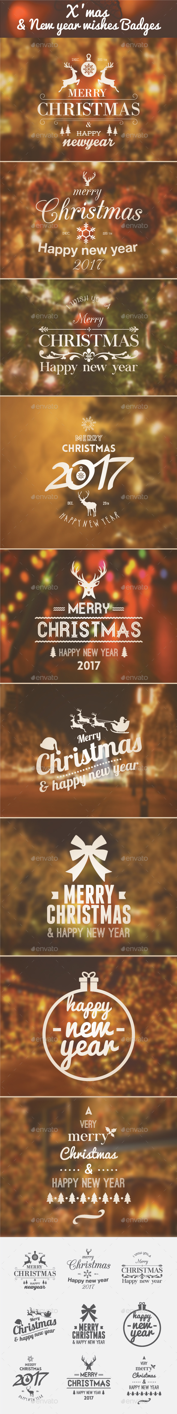 Xmas & New Year wishes - Badges & Stickers Web Elements