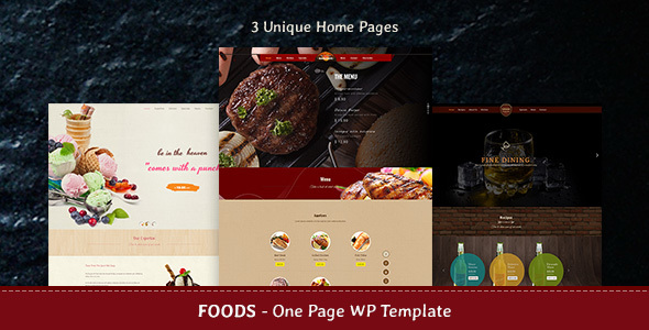 Food – Beverages, Bar & Food One Page Theme
