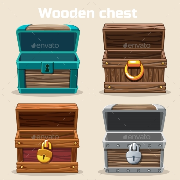 Opened Antique Wooden Chest - Concepts Business