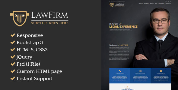 Law Firm – Responsive Single Page HTML Website for Attorney - Business Corporate