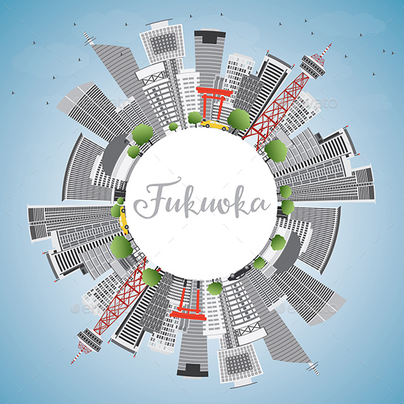 Fukuoka Skyline with Gray Landmarks - Buildings Objects