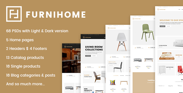 Furnihome – E-Commerce PSD Template for Furniture Store