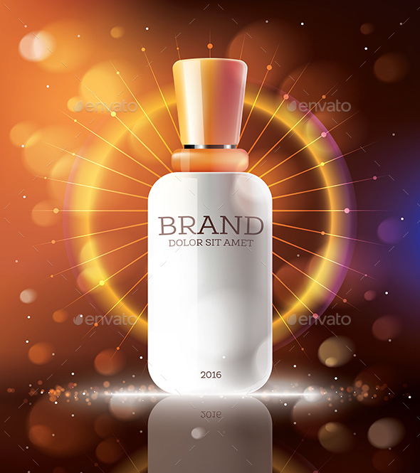 Cosmetic Ads Template with White Bottle - Health/Medicine Conceptual
