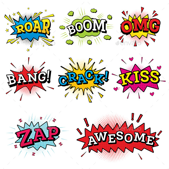 Set of Comic Text in Pop Art Style - Backgrounds Decorative