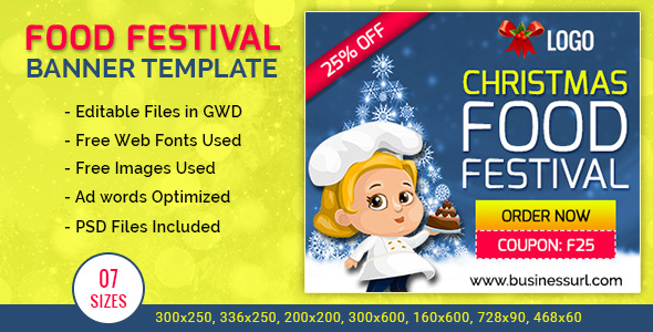 GWD | Festival Food Ordering HTML5  Banners - 7 Sizes - CodeCanyon Item for Sale