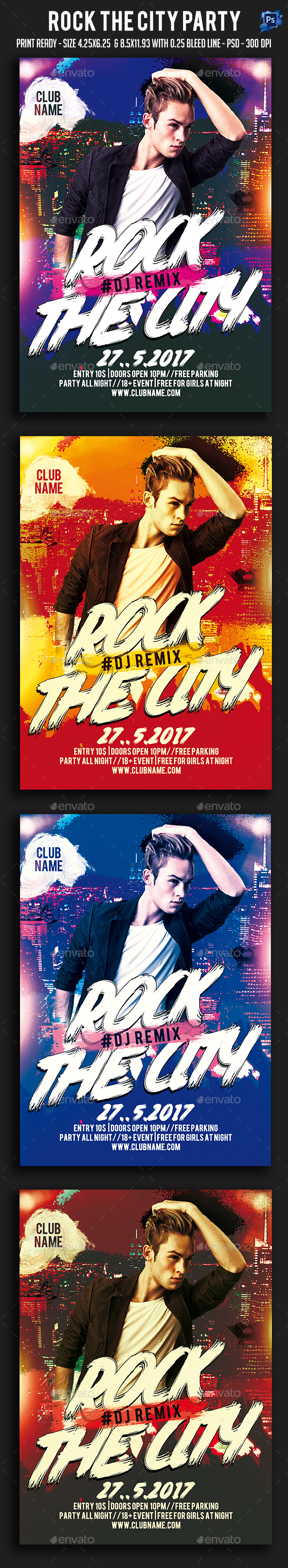 Rock The City Party Flyer - Clubs & Parties Events