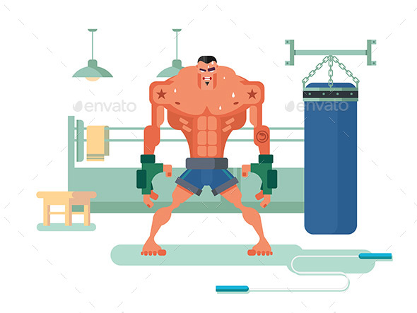 Boxer Character in Training - Sports/Activity Conceptual