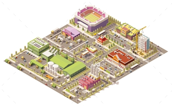 Vector Isometric Low Poly City - Buildings Objects