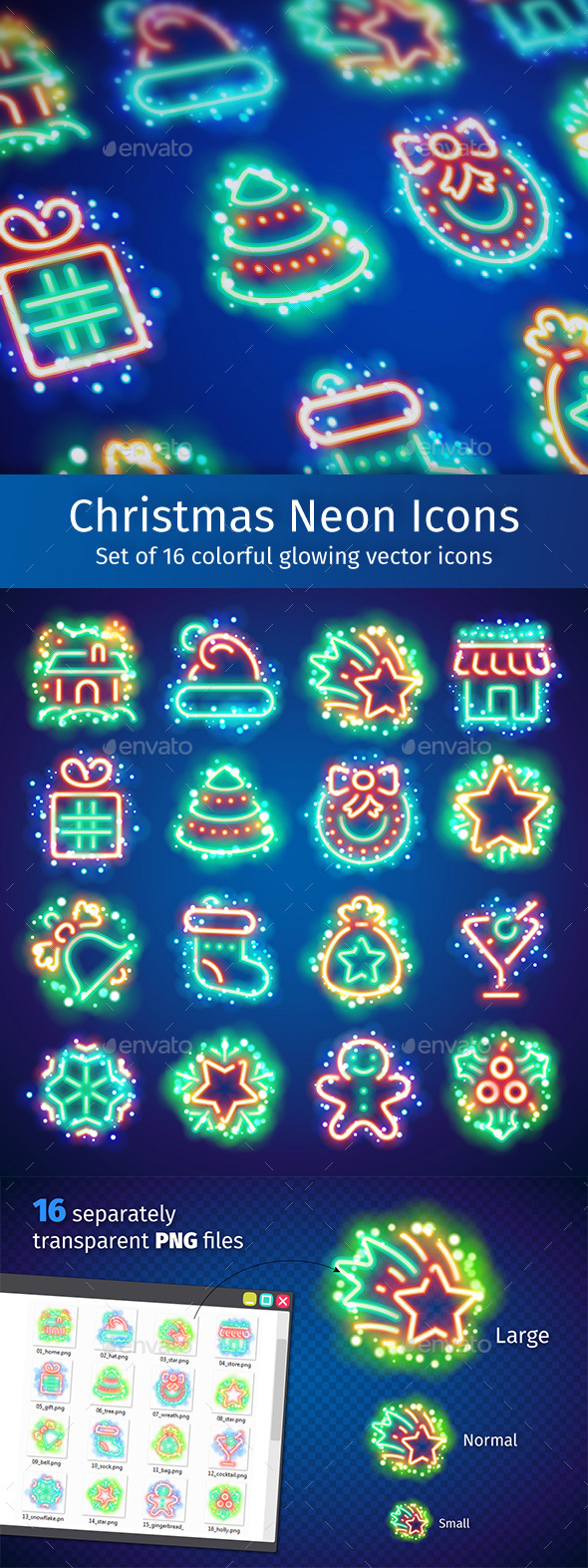 Christmas Neon Icons with Magic Sparkles - Seasonal Icons