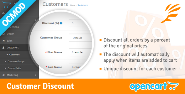 OpenCart2 Customer Discount Extension - CodeCanyon Item for Sale