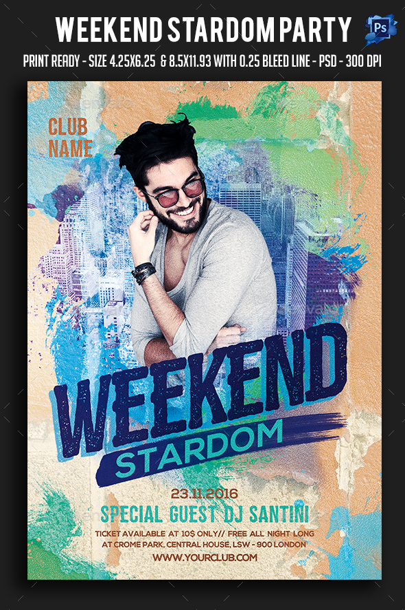 Weekend Stardom Party Flyer - Clubs & Parties Events