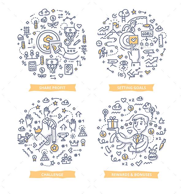 Employee Motivation Doodle Concepts - Concepts Business