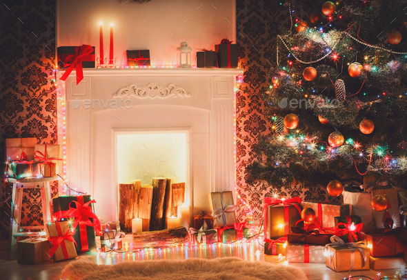 Christmas room interior design, decorated tree in garland lights - Stock Photo - Images