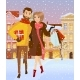 Family with Sales at Winter Street. Vector - GraphicRiver Item for Sale
