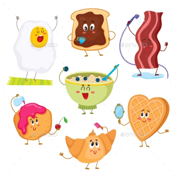 Set of Cute and Funny Cartoon Breakfast Characters - Food Objects