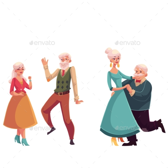 Two Couples of Old, Senior People Dancing Together - People Characters
