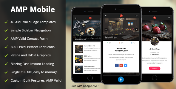 AMP Mobile | Mobile Google AMP Template - Mobile Site Templates