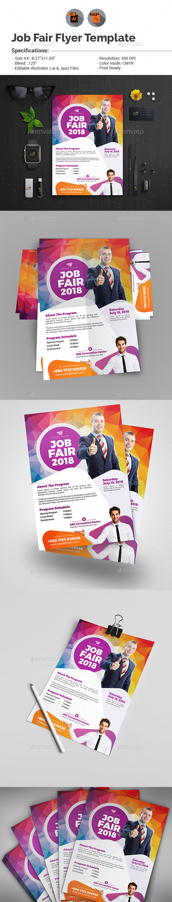 Job fair flyer template v2 by aam360 graphicriver for Job fair brochure template