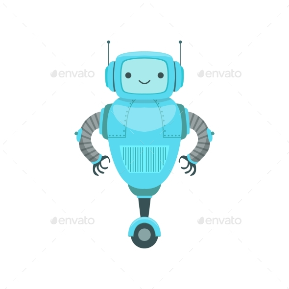 Blue Friendly Android Robot Character - Miscellaneous Characters