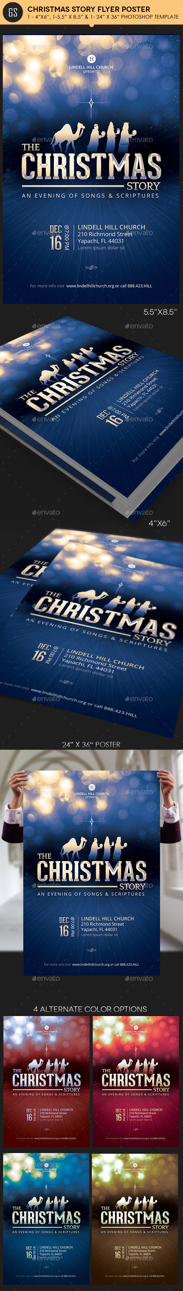 Christmas Story Church Flyer Poster Template - Church Flyers